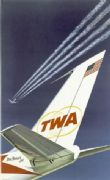 TWA Star Stream Jet. Vintage USA Travel Poster.